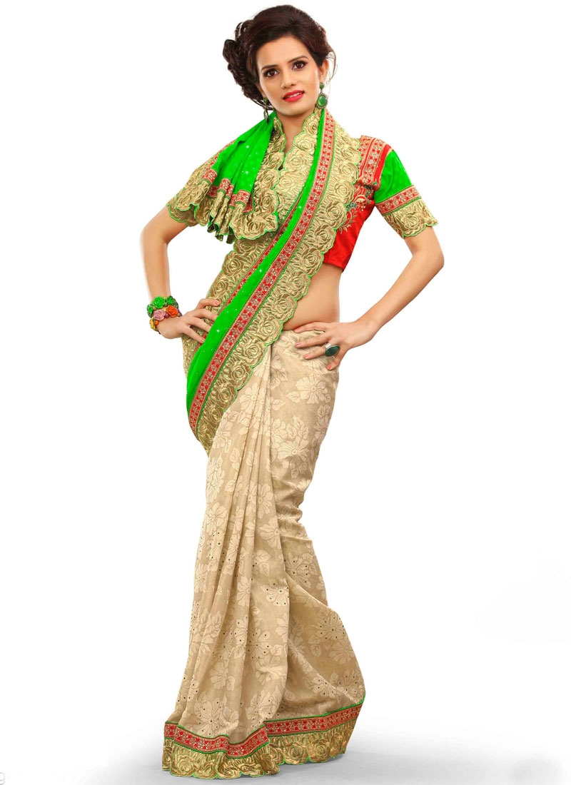 Flawless Faux Georgette Stone Work Half N Half Party Wear Saree