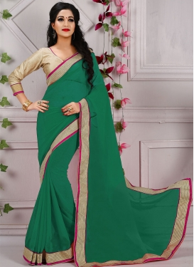 Flawless Green Color Resham Work Casual Saree