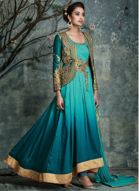 Flawless Jacquard Lace Work Jacket Style Wedding Salwar Kameez