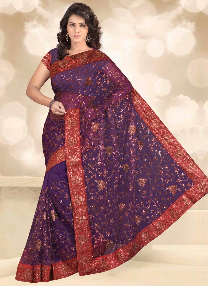Flawless Lace And Sequins Work Party Wear Saree