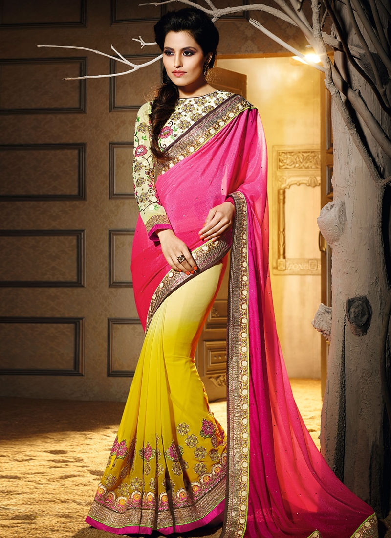 Flawless Lace Work Half N Half Wedding Saree