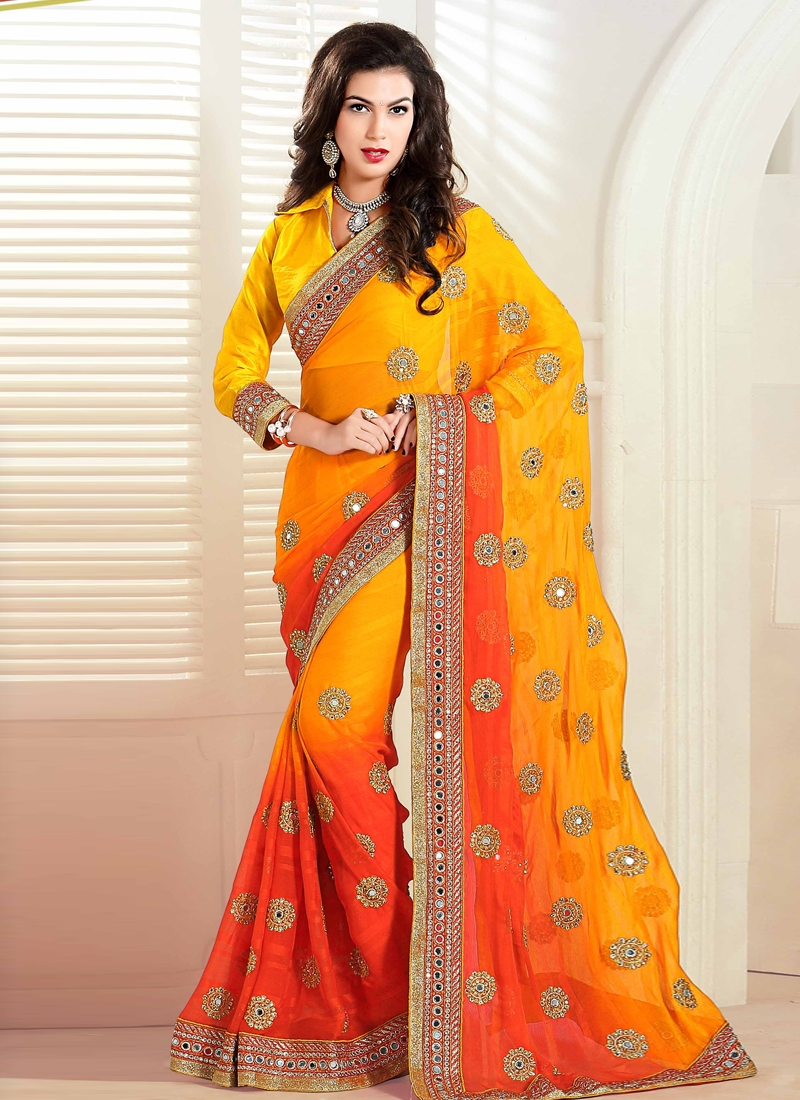 Flawless Mirror Work Designer Saree