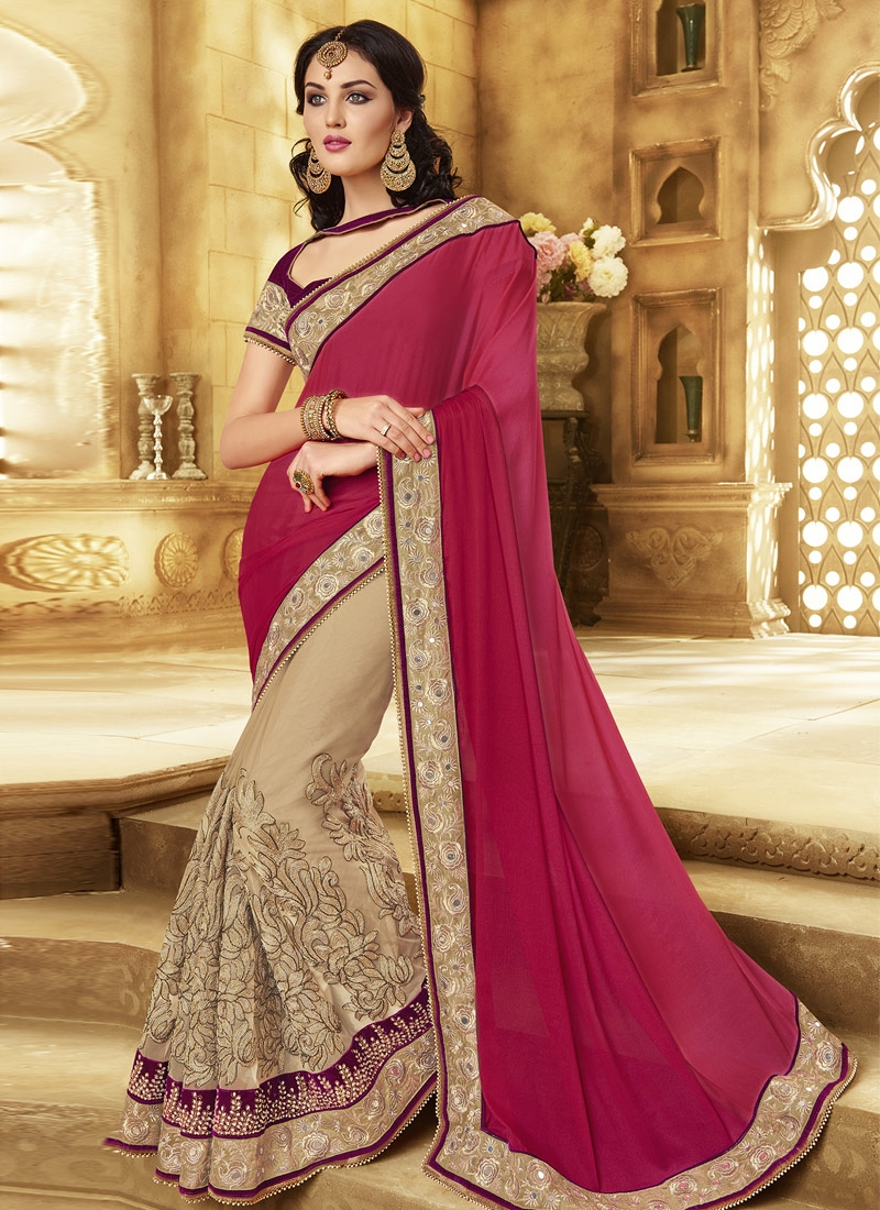 Flawless Mirror Work Half N Half Wedding Saree