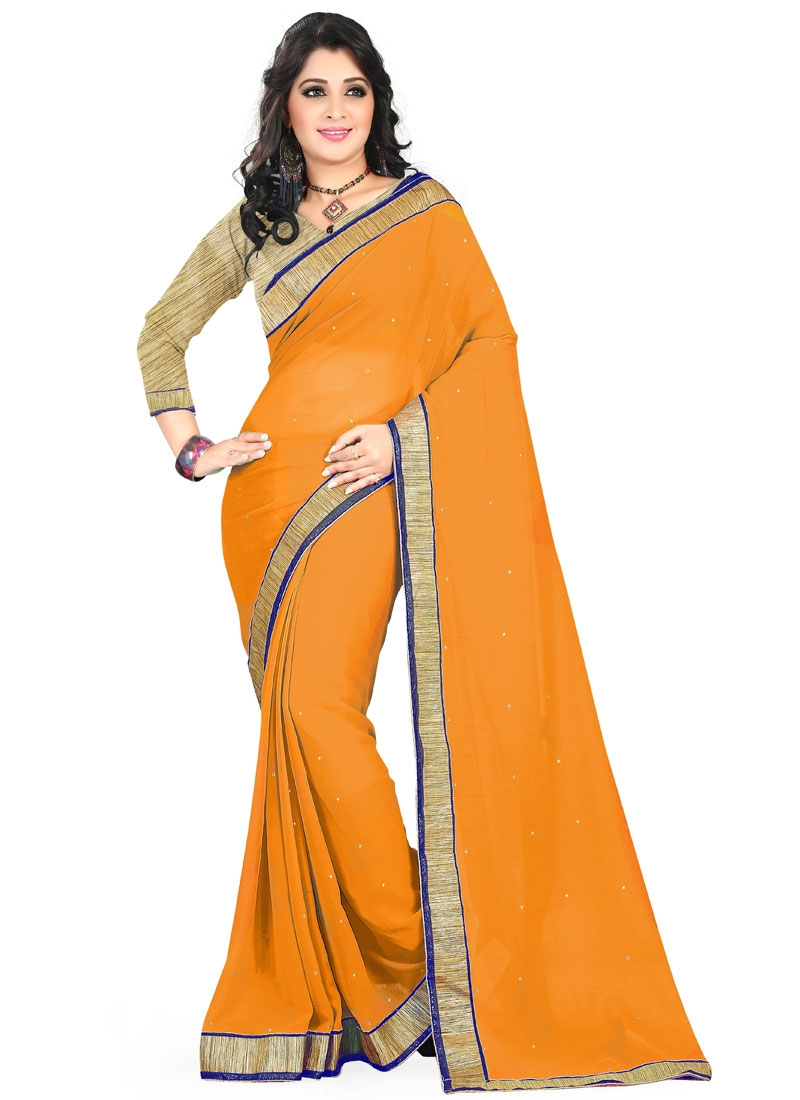 Flawless Mustard Color Resham Work Casual Saree