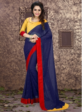 Flawless Navy Blue Color Casual Saree