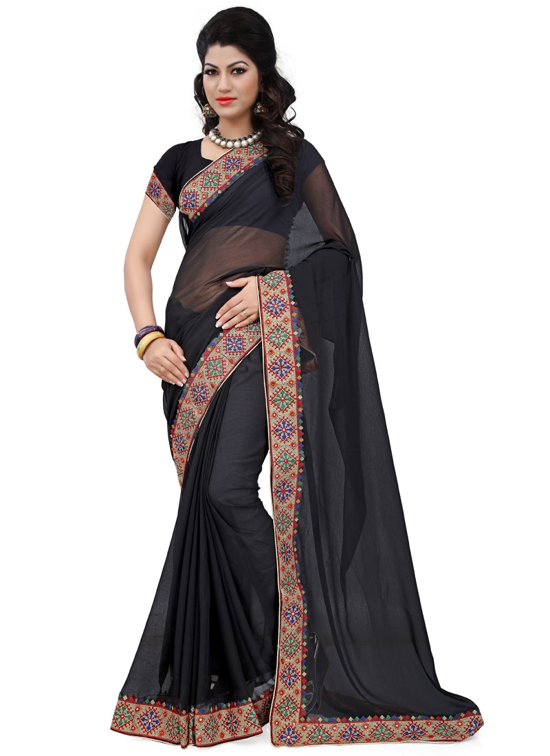 Flawless Resham Work Black Color Casual Saree