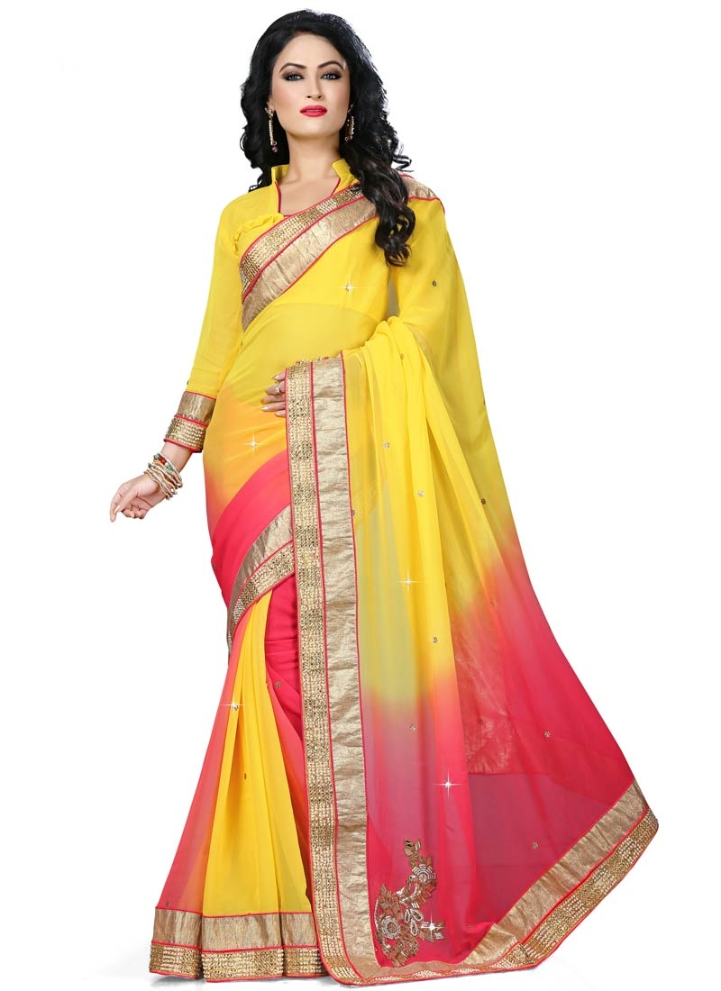 Flawless Rose Pink And Yellow Color Party Wear Saree