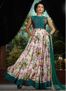 Flawless Teal Color Satin Readymade Designer Gown