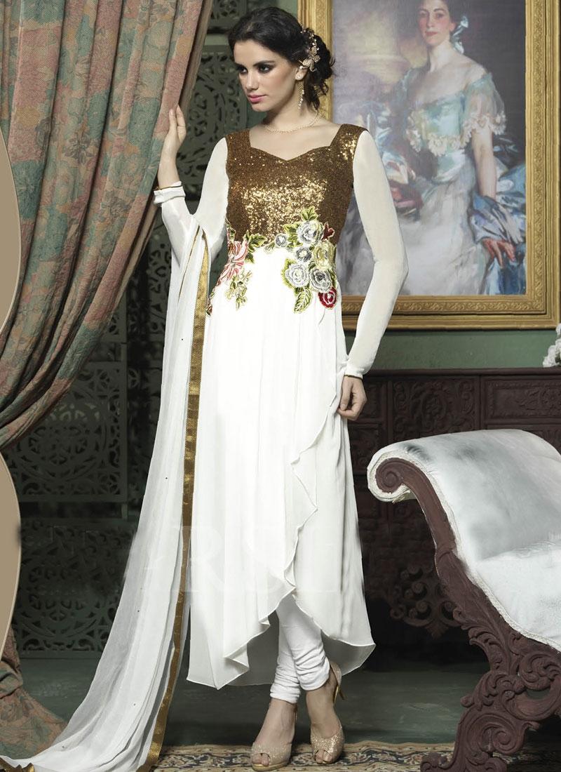 Flawless White Color Sequins Work Anarkali Salwar Kameez