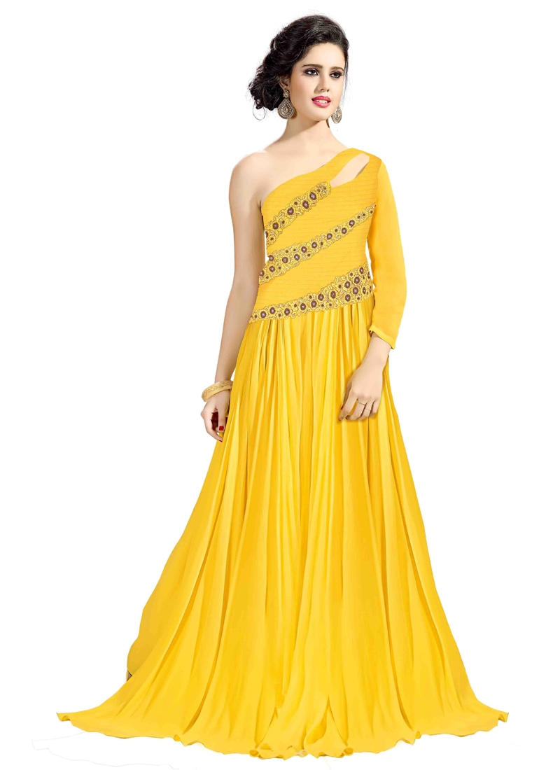 cf710d487a1c Flawless Yellow Color Floor Length Readymade Gown