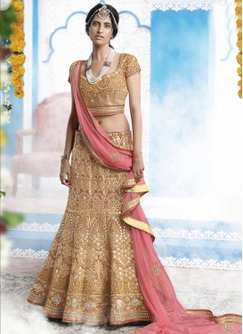 Floral Beige and Salmon Embroidered Work Trendy Lehenga