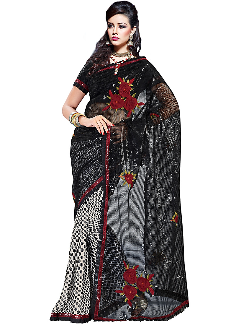 Floral Black And Off White Net Saree