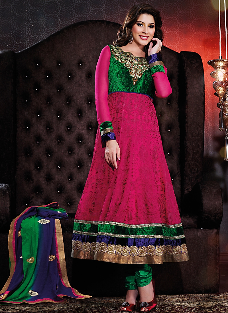 Floral Georgette And Velvet Fabric Pakistani Suit