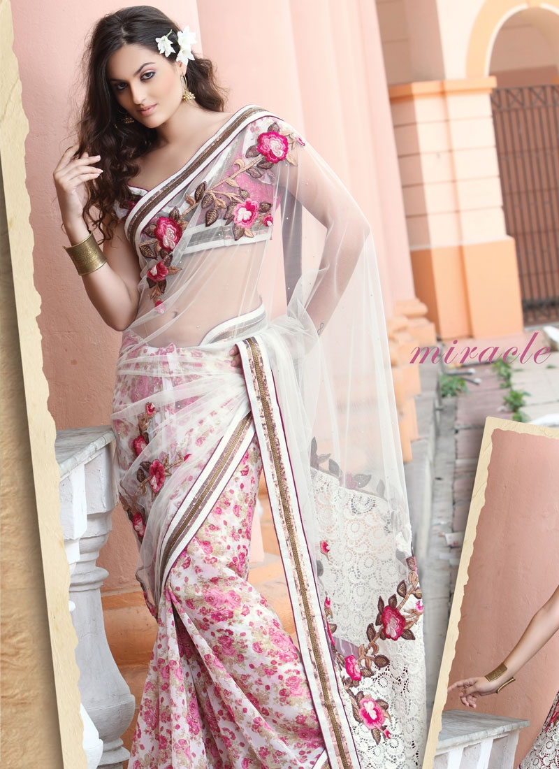 Floral Hot Pink And IOff White Net Saree