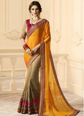 Floral Work Beige and Orange Half N Half Trendy Saree