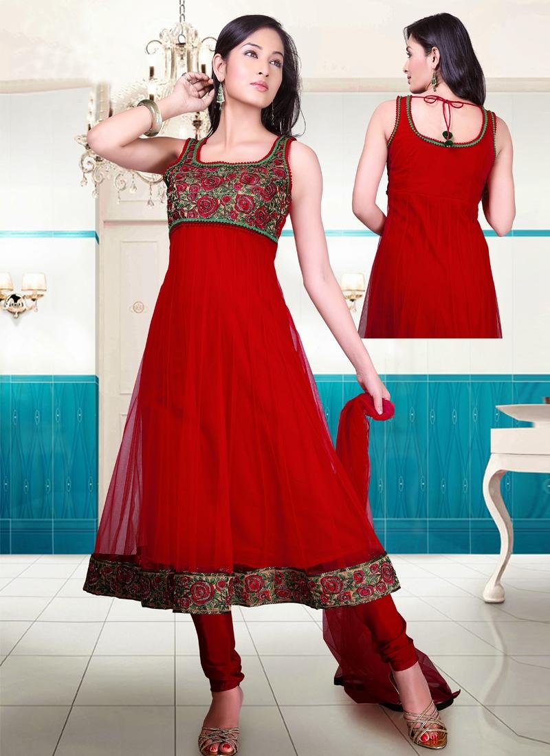 Floral Work Net Readymade Anarkali Salwar Kameez