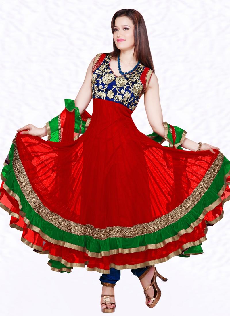 Floral Work Readymade Anarkali Salwar Suit