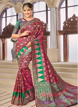 Fuchsia and Green Banarasi Silk Trendy Classic Saree