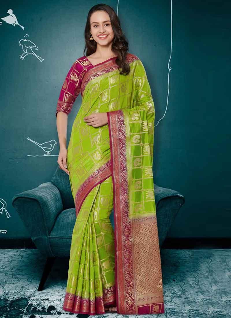 Fuchsia and Green Thread Work Trendy Saree