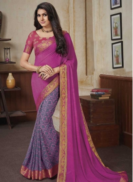 Fuchsia and Grey Faux Georgette Half N Half Saree For Ceremonial