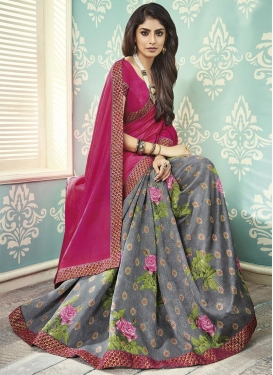 Fuchsia and Grey Lace Work Art Silk Half N Half Designer Saree