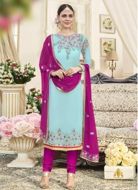 Fuchsia and Light Blue Embroidered Work Trendy Pakistani Salwar Kameez