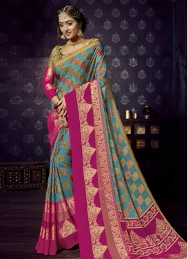Fuchsia and Light Blue Thread Work Contemporary Saree