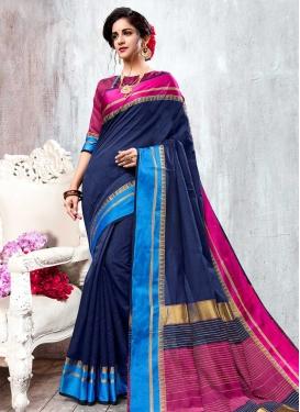 Fuchsia and Light Blue Thread Work Trendy Saree