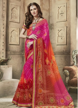 Fuchsia and Maroon Faux Georgette Contemporary Style Saree