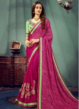 Fuchsia and Mint Green Embroidered Work Contemporary Saree