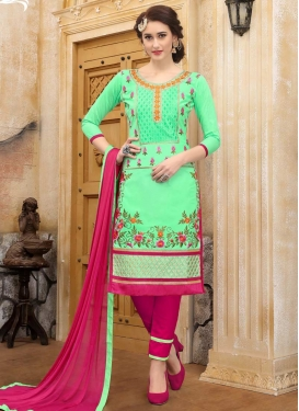 Fuchsia and Mint Green Embroidered Work Pant Style Straight Salwar Suit