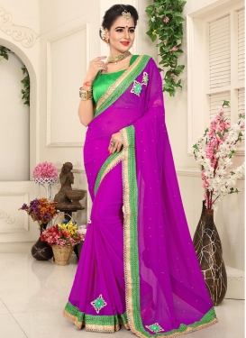 Fuchsia and Mint Green Lace Work Contemporary Saree