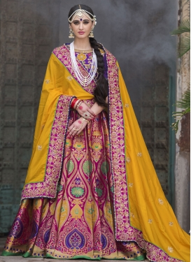 Fuchsia and Mustard Lehenga Saree