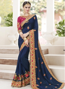 Fuchsia and Navy Blue Beads Work Trendy Classic Saree
