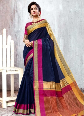Fuchsia and Navy Blue Contemporary Style Saree For Casual