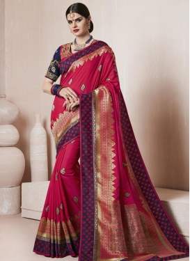 Fuchsia and Navy Blue Contemporary Style Saree For Ceremonial