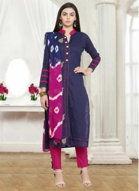 Fuchsia and Navy Blue Embroidered Work Pant Style Salwar Kameez