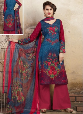 Fuchsia and Navy Blue Palazzo Straight Salwar Suit
