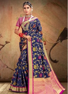 Fuchsia and Navy Blue Patola Silk Designer Contemporary Saree For Festival