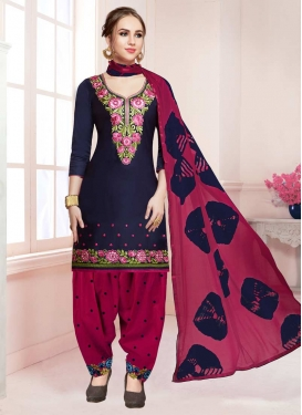 Fuchsia and Navy Blue Trendy Patiala Salwar Kameez For Ceremonial