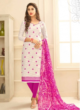 Fuchsia and Off White Churidar Salwar Kameez For Casual