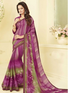 Fuchsia and Olive Art Silk Contemporary Style Saree