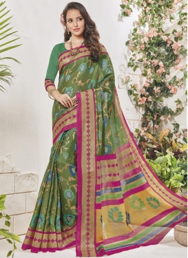 Fuchsia and Olive Art Silk Trendy Classic Saree For Casual