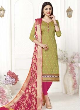 Fuchsia and Olive Trendy Churidar Salwar Suit