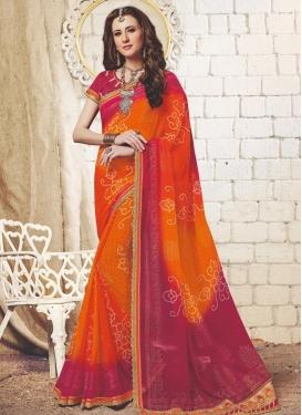 Fuchsia and Orange Bandhej Print Work Faux Georgette Trendy Classic Saree