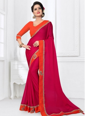 Fuchsia and Orange Chiffon Satin Contemporary Style Saree For Ceremonial
