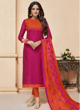 Fuchsia and Orange Churidar Salwar Suit