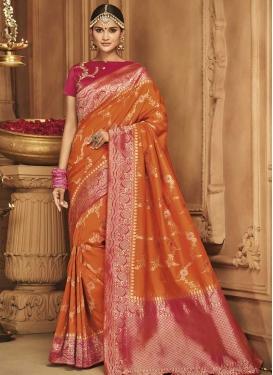Fuchsia and Orange Contemporary Style Saree