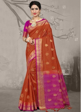 Fuchsia and Orange Jacquard Silk Traditional Designer Saree