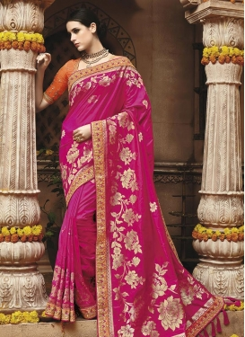 Fuchsia and Orange Lace Work Trendy Classic Saree